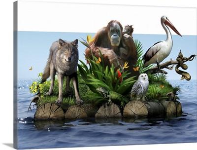 Endangered animals, conceptual image