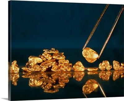 Gold nugget held in tweezers