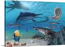 Ichthyosaur and prey