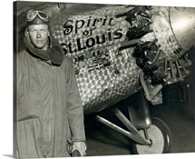Lindbergh with his airplane, 1928