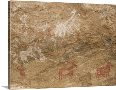 Pictograph of humans and animals, Libya