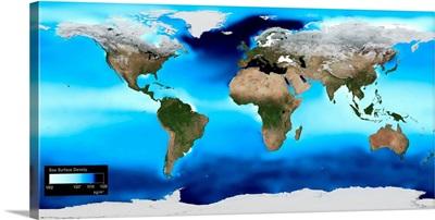 Sea surface density, global map