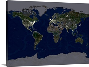 Whole Earth At Night Satellite Image Wall Art Canvas