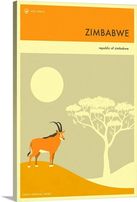 Minimalist Travel Poster - Zimbabwe, Africa