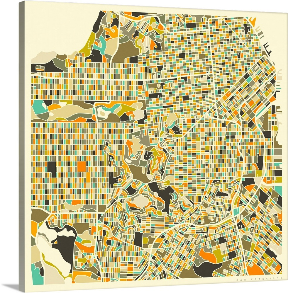 San Francisco Aerial Street Map Wall Art, Canvas Prints, Framed ...