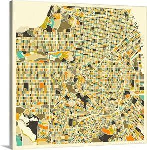 San Francisco Aerial Street Map Wall Art, Canvas Prints, Framed ...