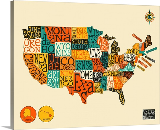 US Map Wall Art, Canvas Prints, Framed Prints, Wall Peels | Great ...