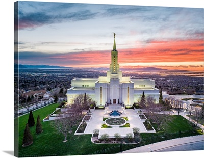 Bountiful Utah Temple, Sunset from Above, Bountiful, Utah