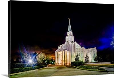 Houston Texas Temple at Night, Spring, Texas
