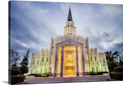 Houston Texas Temple, Lights in the Evening, Spring, Texas