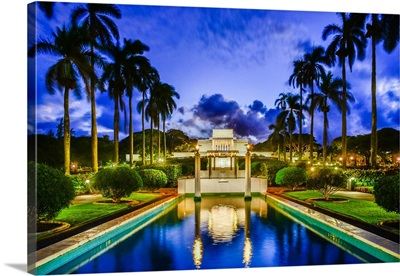 Laie Hawaii Temple, Twilight Reflection, Laie, Hawaii