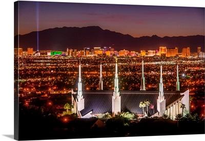 Las Vegas Nevada Temple, Night, View from the Hill, Sunrise Manor, Nevada