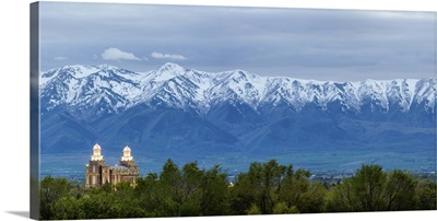 Logan Utah Temple and Wellsville Mountains, Logan, Utah