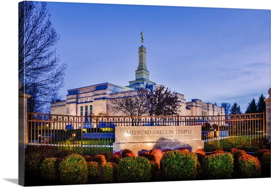 Medford Oregon Temple with Sign, Central Point, Oregon