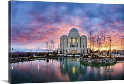 Meridian Idaho Temple, Sunrise Colors, Meridian, Idaho