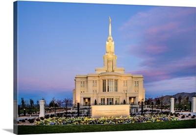 Payson Utah Temple, Front at Sunrise, Payson, Utah