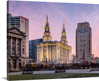 Philadelphia Pennsylvania Temple, Pink Sky, Philadelphia, Pennsylvania
