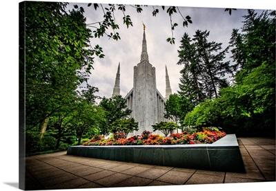 Portland Oregon Temple, Garden in Front, Lake Oswego, Oregon