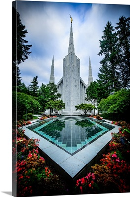 Portland Oregon Temple, Reflecting Pool, Lake Oswego, Oregon