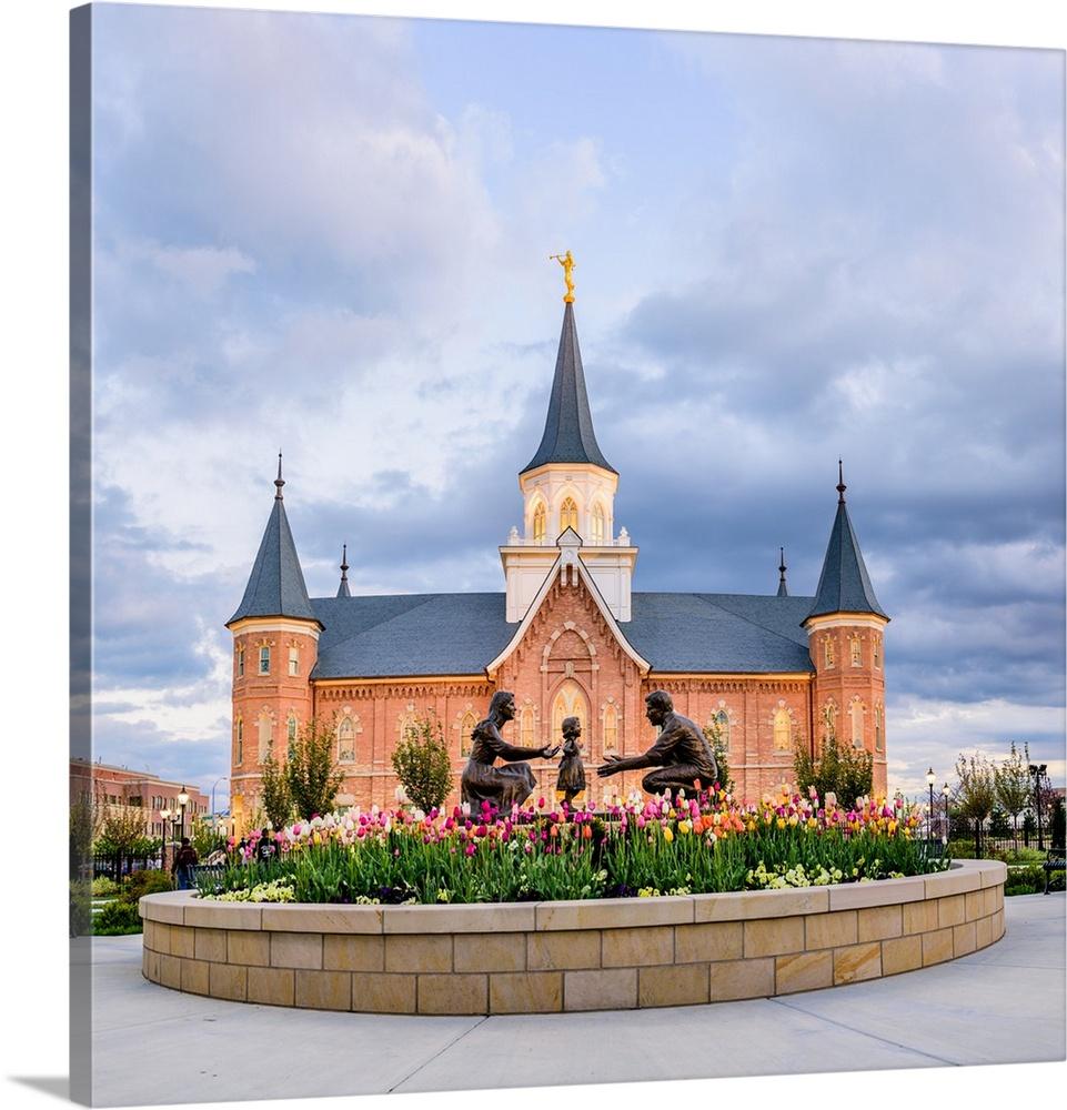Provo City Center Temple, Family Statue In The Springtime, Provo, Utah