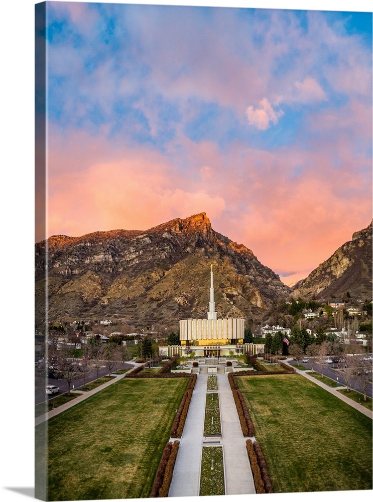 Provo Utah Temple, Sunset over the Mountains, Provo, Utah