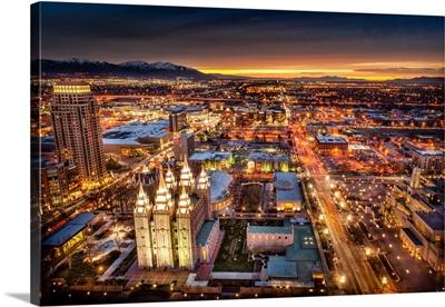 Salt Lake Temple, Aerial View, right after Sunset, Salt Lake City, Utah