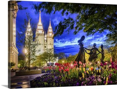 Salt Lake Temple, Kids at Play Twilight, Salt Lake City, Utah