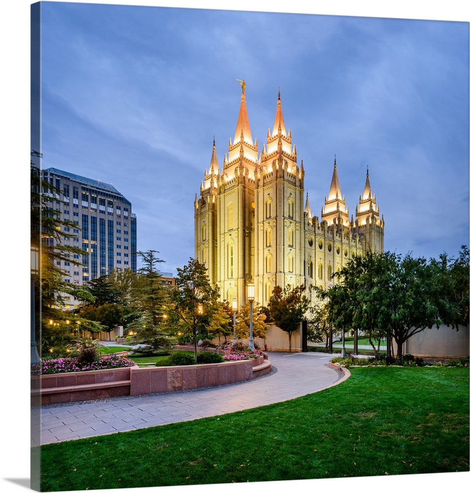Salt Lake Temple Lit Up At Night Salt Lake City Utah Square Wall Art Canvas Prints Framed Prints Wall Peels Great Big Canvas