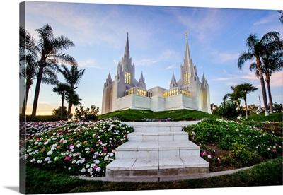 San Diego California Temple, Framed by Palm Trees, San Diego, California