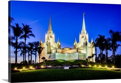 San Diego California Temple, Lights at Dusk, San Diego, California
