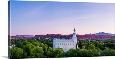St. George Utah Temple, Red Rocks and Green Trees, St. George, Utah