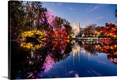 Washington DC Temple, Christmas Pond Reflection, South Kensington, Maryland