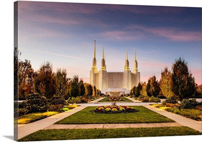 Washington DC Temple in Blue and Pink, South Kensington, Maryland