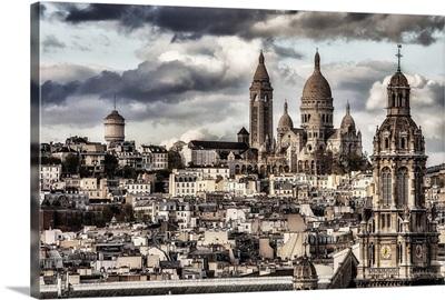 Aerial view of Sacre Coeur Basilica in Paris
