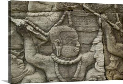 Angkor Wat temple bas relief, Angkor Wat, Cambodia