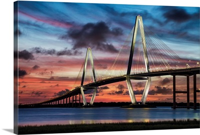 Arthur Ravenel Jr. Bridge crossing the Cooper River at sunset