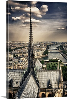 Atop the Notre Dame Cathedral, Paris, France