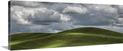 Beautiful clouds over the green wheatfields of the Palouse, WA