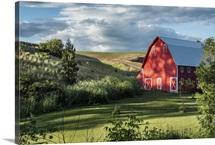 Beautiful red barn and garden in the Palouse, Washington