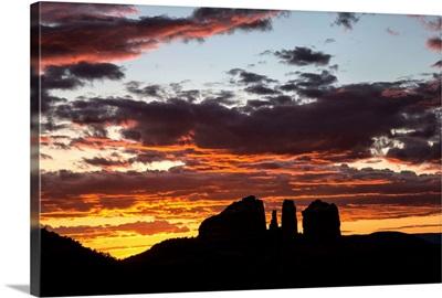 Beautiful sunset over Cathedral Rocks in Sedona, Arizona