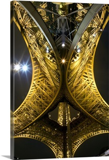 Beneath the Eiffel Tower at night