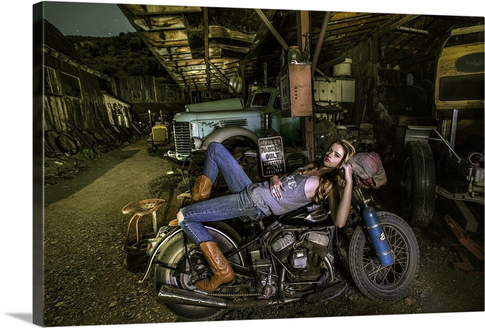 Blonde Girl Laying On An Old Harley Davidson Wall Art