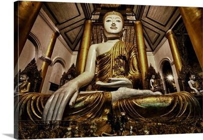 Buddha statues in Shwedagon Pagoda in Yangon, Burma