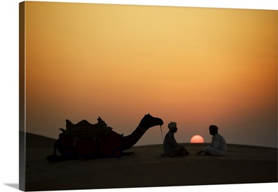 Camel and men at sunset in the desert