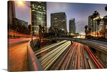Car trails at dusk in downtown Los Angeles, California