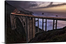 Car Trails at sunset on the Bixby Bridge, Big Sur, California