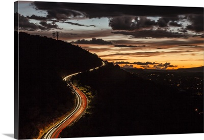 Car trails on airport road at sunset in Sedona, Arizona