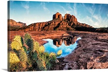 Cathedral Rocks with reflection at sunset in Sedona, Arizona