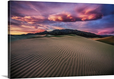 Clouds at sunrise in the Mesquite Sand Dunes at Death Valley National Park