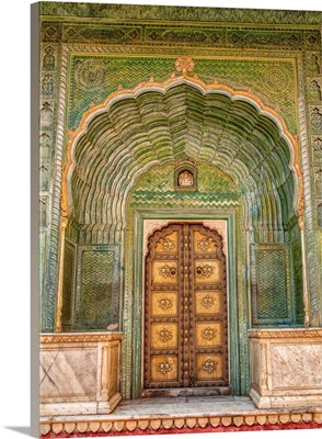 Colorful door at the City Palace in Jaipur, Rhajisthan, India